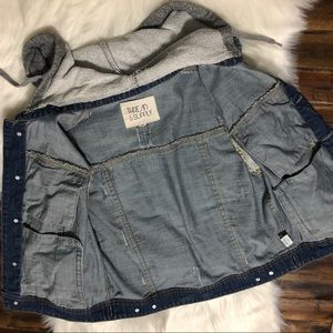 Thread & Supply Jackets & Coats - Distressed Denim Jacket Fleece Hood & Sleeves Sz M